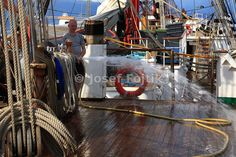 Cleaning of the four masted barque Sedov before entering Port of Funchal, Funchal 500 Race 2008, Madeira Coast, Atlantic Ocean