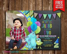 *Monster Inc birthday party photo invitation - customized with your photo and party information!*    By purchasing this listing you will