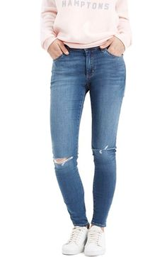 Topshop Moto 'Leigh' Ripped Skinny Jeans (Mid Denim) (Regular & Short) available at #Nordstrom SIZE: 25/26