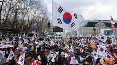 SKorean supporters of the arrested former president protest in Seoul