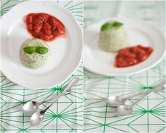 Basil panna cotta with strawberry-rhubarb sauce // feed me up before you go-go