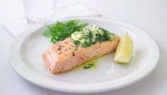 Salmon with green butter (the GREEN is parsley, chives, tarragon, basil) - and there's a video. Yahoo!
