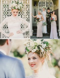 Best of 2012: Fashion Details. points for being bold on the hair floral. love the bridesmaids dresses.