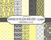Yellow digital paper, damask digital paper, digital scrapbook paper, yellow damask, grey damask - 131