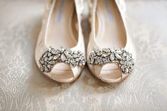 Vera Wang Lavendar Luna Jeweled Ballerina Flat.  Peep-toe wedding shoes with crystal details.  $123 at NeimanMarcus.com right now (8/18/12).  Image by KTMerry.