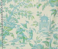 Oriental Chinoiserie toile fabric pagoda turquoise blue green from Brick House Fabric: Novelty Fabric
