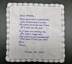 Mother of the Groom Handkerchief from Bride White with Wedding date and Crochet Border on Etsy, $35.00