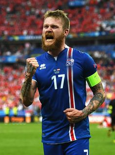 Aron Gunnarsson Photos - Aron Gunnarsson of Iceland celebrates his team's victory in the UEFA EURO 2016 Group F match between Iceland and Austria at Stade de France on June 2016 in Paris, France. - Iceland v Austria - Group F: UEFA Euro 2016 Football Is Life, World Football, Football Soccer, Uefa European Championship, Soccer World, World Of Sports, Cardiff City Football, Pier Paolo Pasolini, Sport