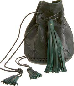 Bullet patchwork leather bucket bag
