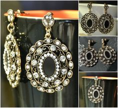Antique Golden based Earrings inlaid with Transparent Rhinestones Item code: D0095 Price: Rs. 340 https://www.facebook.com/messages/JewelryGalaPakistan