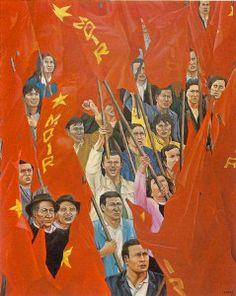 "Primero de mayo revolucionario ""leo 1977 160 x 130 cm, Clemencia Lucena,Catalogo de la exposición ""Clemencia Lucena.Pinturas"" Editorial Bandera Roja 1979,"