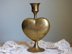 "Vintage Brass Heart Candle Stick Holder - 6"" Tall - Made in India by Liards Ltd - Chic - Clean - Working Condition - Gift Worthy - Classic by ChicAvantGarde on Etsy"