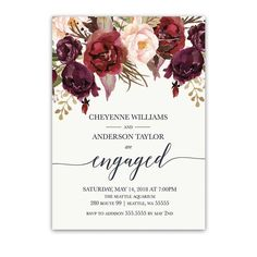 Floral Engagement Party Invitations Burgundy Wine Blush designed to coordinate with the Floral Watercolor Wedding Invitations Burgundy Wine.