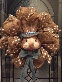 Easter Wreath, Poly Jute Burlap Deco Mesh Wreath, Deco Mesh, Natural Bunny Face, Bunny Head, Easter Bunny Wreaths, Polka Dot Ribbon,Easter