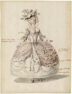 Charles-Germain de Saint-Aubin: dame en habit de cour, 1785. Les Arts…