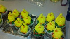 Easter/Chick cupcakes - I made these for a cancer benefit dinner for the bake sale portion of it. They were chocolate fudge with peanut butter icing. They were a hit and sold first.