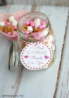 Fun DIY Gift for Valentine's Day: S'more Valentine Jar - This S'more Valentine's Day jar is the perfect dIY yourself gift for the day of love. The treat jar contains delicious graham cracker fish, mini marshmallows and festive colored pink sexlets.
