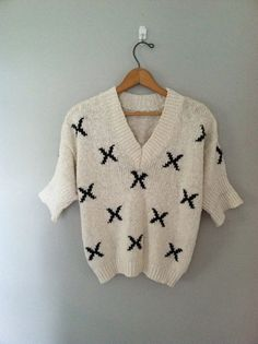 Vintage crop sweater / short sleeve slouchy by cashmerevintage, $27.00