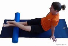 Calf muscle massage with a foam roller for plantar fasciitis