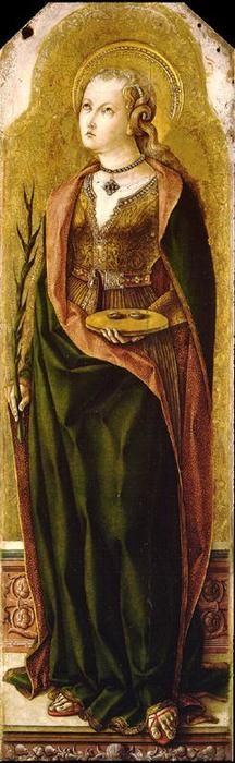 Carlo Crivelli (Venice,1435-1495) ~ St. Lucy, Martyr ~ ca.1476 ~ This painting is part of the group: Four Panels from an Altarpiece, Ascoli Piceno ~ National Gallery, London ~ Carlo Crivelli was an Italian Renaissance painter of conservative Late Gothic decorative sensibility, who spent his early years in the Veneto, where he absorbed influences from the Vivarini, Squarcione and Mantegna.