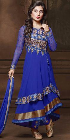 Classy Blue Georgette Anarkali With Dupatta