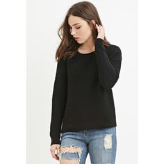Forever 21 Women's  Ribbed Knit Sweater ($18) ❤ liked on Polyvore featuring tops, sweaters, forever 21 tops, long sleeve tops, forever 21 sweaters, ribbed knit top and forever 21