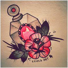 .@xfiola | #xfiolaart #art #painting #inkpainting #traditional #bottle #perfumebottle #r... Tattoo Sketches, Art Sketches, Art Drawings, Tattoo Flash Art, Tattoo Art, Tattoo Illustration, Neo Traditional, Art Styles, Ink Painting