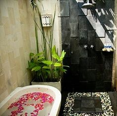 took a shower in a place just like this in Thailand <3 Outdoor Bathrooms And Indoor Gardens