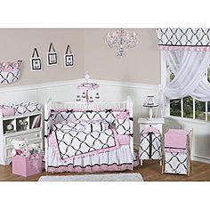 Sweet Jojo Designs Pink, Black and White Princess 9-piece Crib Bedding Set