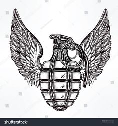 stock-vector-hand-drawn-retro-hand-grenade-drawing-with-wings-in-vintage-style-ornate-detailed-tattoo-design-348112460.jpg (1500×1600)
