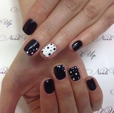 Beautiful black and white nails, Black and white nail ideas, Black and white nail polish, Easy nails for girls, Polka dot nails, ring finger nails, Short nails for kids, Simple nail art
