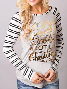 Grey Striped Long Sleeve Christmas Print T-Shirt - Zooomberg