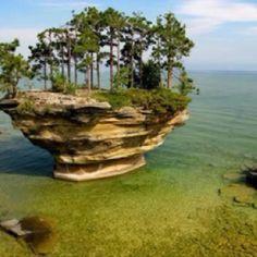 Amazing tree island in Lake Huron