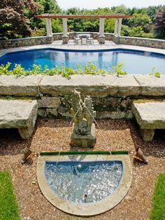Home Restoration Project in Impressive Result : Stunning Backyard Landscape With Swimming Pool Restored Estate Home