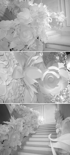 oversized paper flowers fashion show | ... spring summer haute couture decor a billowing showcase of white paper