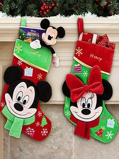 Personalized Christmas Stockings For 2013 Christmas, 2013 Green Mickey's head Christmas Stocking #Personalized #Christmas  #Stockings www.loveitsomuch.com