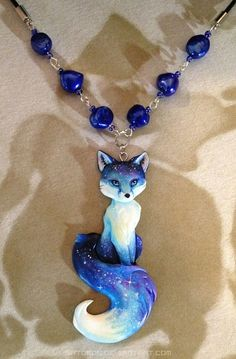 Starry Evening Fox Necklace by Gatobob on DeviantArt This design kind of ran off without me XD I was originally planning to do a ghost fox, then I made a kabuki face on a wh. Polymer Clay Charms, Polymer Clay Creations, Polymer Clay Art, Polymer Clay Jewelry, Wolf Jewelry, Cute Jewelry, Jewelry Accessories, Dragon Jewelry, Magical Jewelry