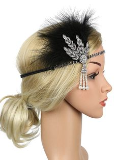 Silver 1920s Feather Rhinestone Headband – vintage1950s Silver Headband, Rhinestone Headband, Rhinestone Earrings, 1920s Flapper Costume, Flapper Headpiece, Silver Accessories, Hair Accessories, Elastic Headbands, Stylish Hair