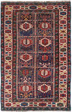"Antique Chi Chi (Cabistan), Dark Blue ground, Ivory border. Size: 3'7"" x 5'6"". Origin: Caucasus. Age: 100+ yrs."