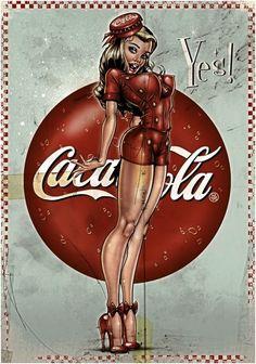 Coca Cola vintage pin-up art