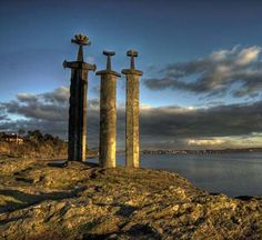 Monument swords in stone, Stavanger Norway