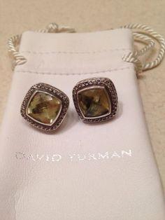 David Yurman Sterling & 18K Gold Citrine Albion 11mm Earrings w/ .43 Diamonds - http://designerjewelrygalleria.com/david-yurman/david-yurman-sterling-18k-gold-citrine-albion-11mm-earrings-w-43-diamonds/