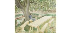 Two Women Sitting in a Garden by Eric Ravilious, 1932
