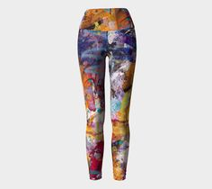 Yoga leggings, foldover waistband, original abstract painting, opaque knit, separate waistband, printed, patterned, breathable, wearable art #etsy