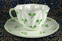 Shelley Dainty Shamrock cup and saucer at Time Was Antiques $88.00