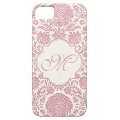 Monogrammed Pink Floral Damask iPhone 5 Cases