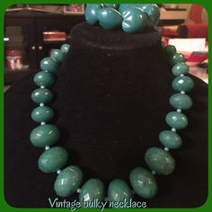 Vintage bulky necklace #13 Vintage bulky necklace, green not hallmark, I have included a stretch green bracelet & a pair of green & white clip on earrings, they are not a set, but I will include the bracelet & earrings, may show signs of wear Vintage Jewelry Necklaces