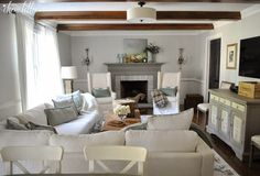 A Birch Lane Rug For the Family Room by Dear Lillie Living Room Themes, Cozy Living Rooms, Living Spaces, Cottage Lounge, White Beams, White Lounge, Dear Lillie, Furniture Arrangement, Great Rooms