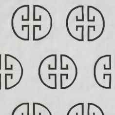 The Monogram - Asphalt (Jill Sorenson) Black geometric pattern with light grey outline on cream background.  This design is also available in Sky & Field, Moonshine, Lavender, and Soft Sky.