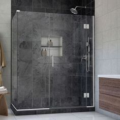 "DreamLine Unidoor-X 47"" x 34.38"" x 72"" Pivot Hinged Shower Enclosure Finish:"